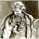 Plume, Pinceau et Brou de Noix (Monument Joseph Sec, Aix. 10cm x 10cm )