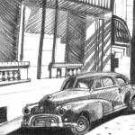 'La Calle', la Havane - crayon -(c) 2002 D. Deleglise