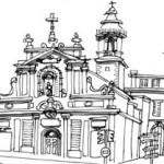Marseille, Eglise Saint-Ferreol - 12cmx15cm - feutre noir et gris