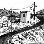 Marseille, l'arrivée aux Goudes - 12cmx12cm - feutre et lavis d'encre